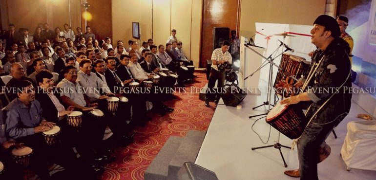 Drum Circle photo from blog about how to keep your audience interested by Pegasus Events Pvt Ltd.