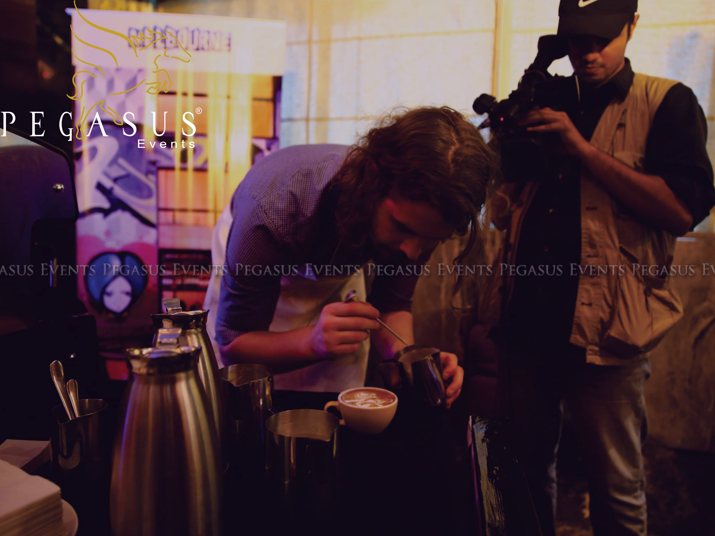 Ben Morrow, a Victorian latte art professional at Coffee Culture organized by Pegasus Events for Tourism Melbourne